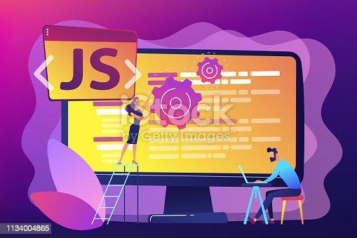 Programmers using JavaScript programming language on computer, tiny people. JavaScript language, JavaScript engine, JS web development concept. Bright vibrant violet vector isolated illustration