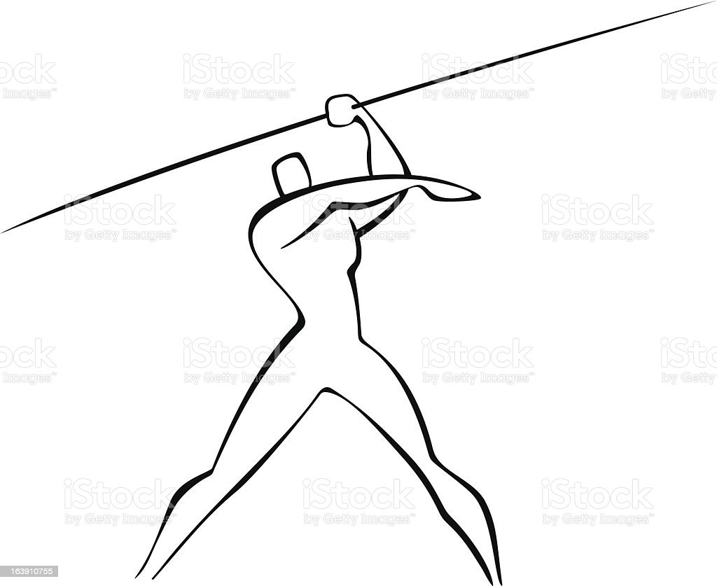 javelin thrower vector art illustration