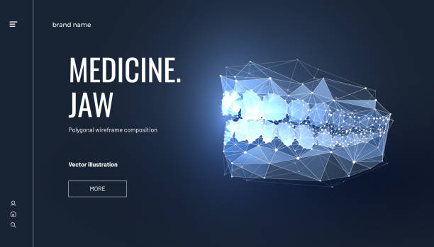 Jaw low poly wireframe landing page template Jaw low poly wireframe landing page template. 3d cranium bone mesh art illustration with connected dots. Dentistry services polygonal banner. Teeth whitening promotional website page design layout human jaw bone stock illustrations