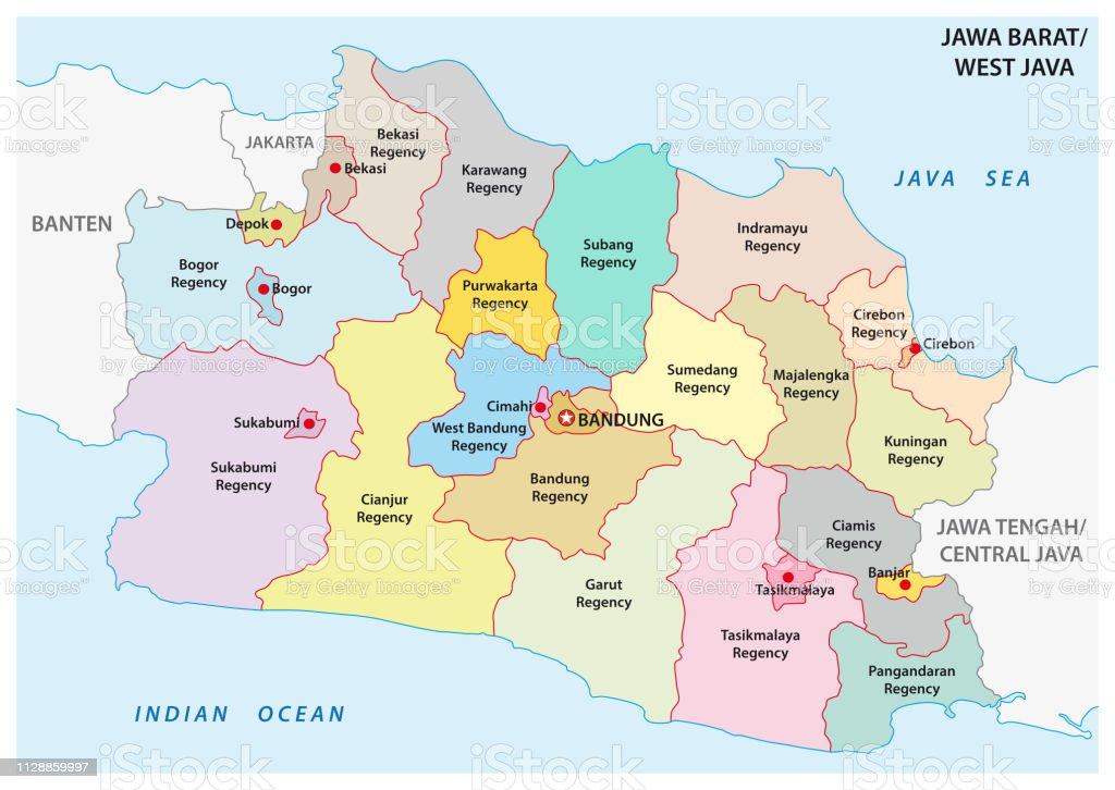 Indonesien Karte Physisch.Jawa Barat Westjava Administrative Und Politische Vektor