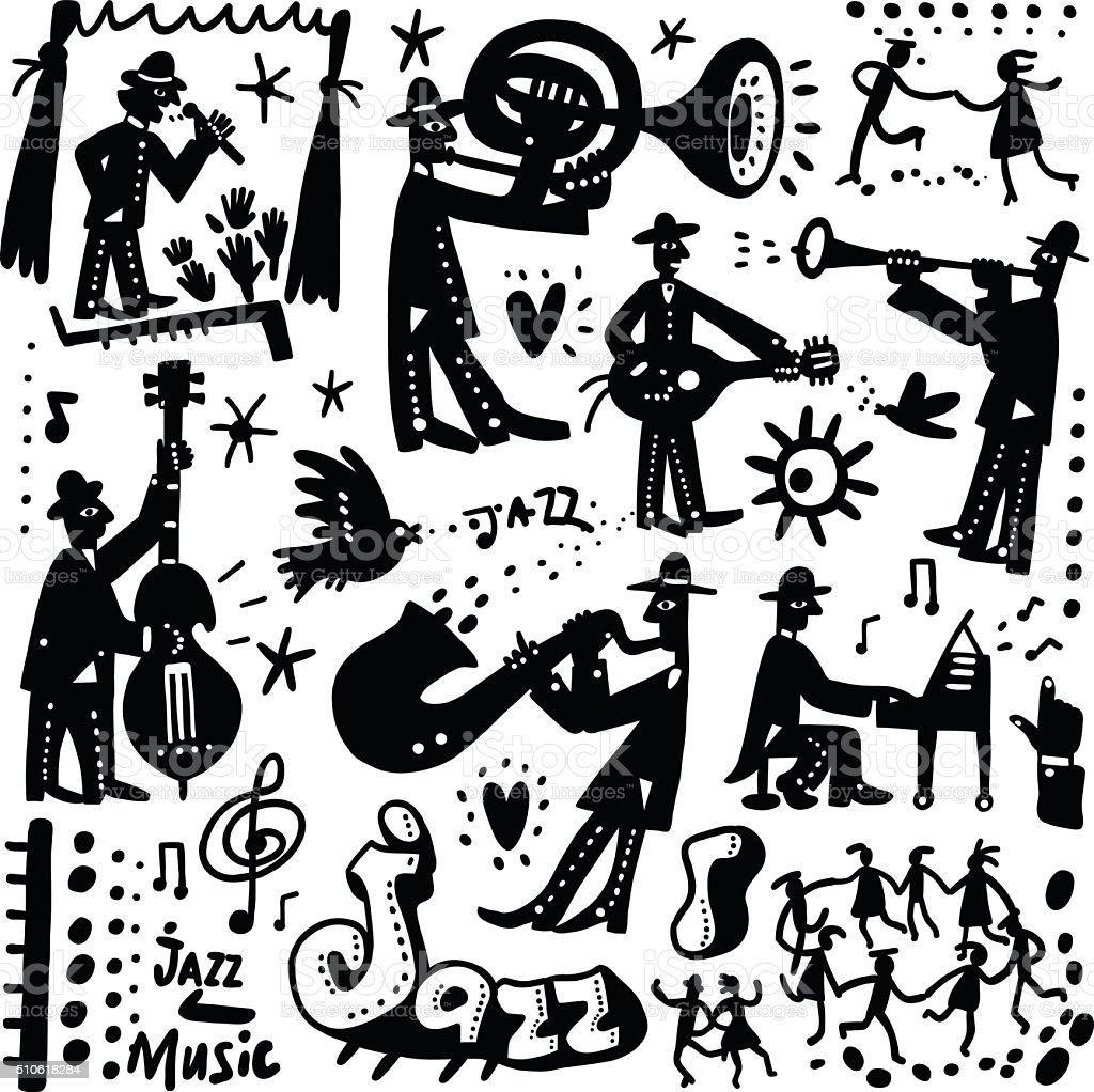 jazz band cartoons vector art illustration