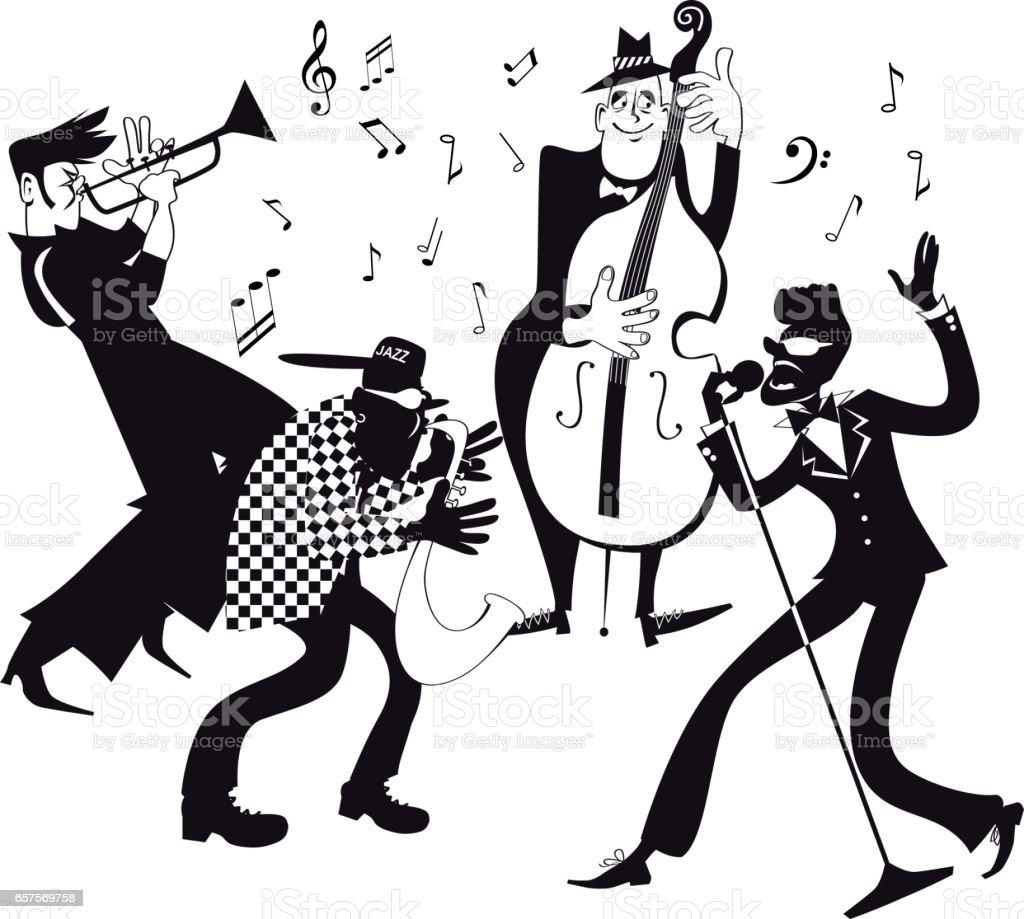 ジャズバンド クリップアート イラストレーションのベクターアート素材