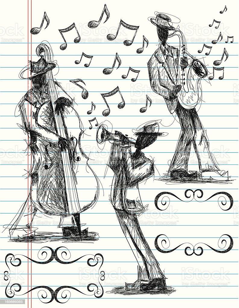 jazz band doodles royalty-free stock vector art