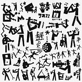 jazz band icon set