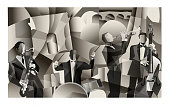 Jazz band in Paris cubist style - Vector Illustration