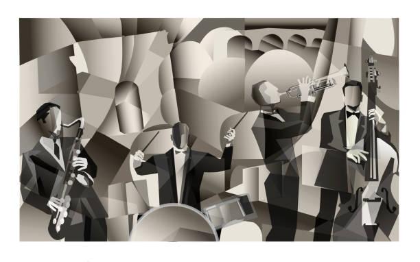jazz band in paris - jazz stock illustrations
