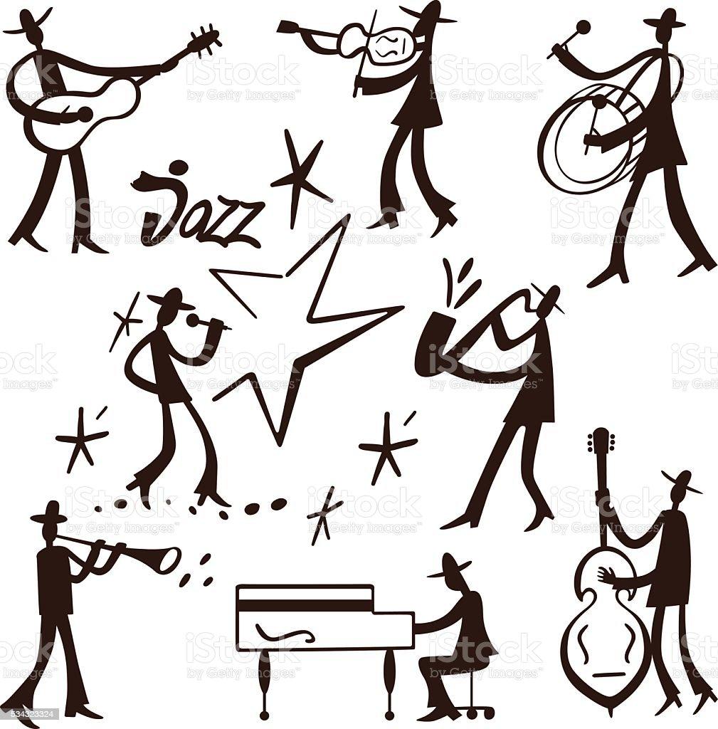 Jazz band musicians vector art illustration