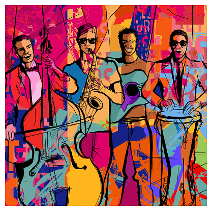 Jazz band on a colorful background - vector illustration (Ideal for printing on fabric or paper, poster or wallpaper, house decoration)