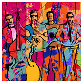 istock Jazz band on a colorful background 1253614334
