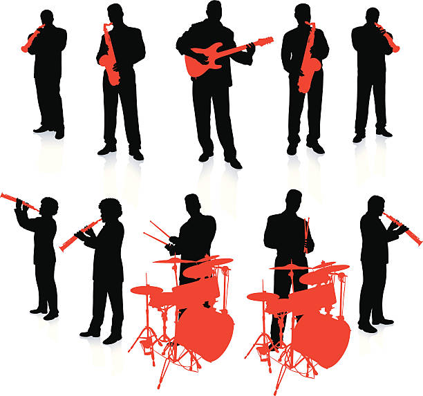 jazz obrączkę na białym tle - klarnet stock illustrations
