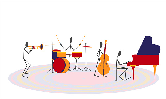 Jazz band playing music isolated on white background. Piano, double bass, drums, trumpet.