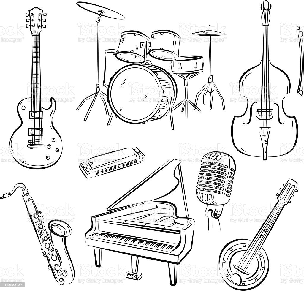Jazz band set vector art illustration