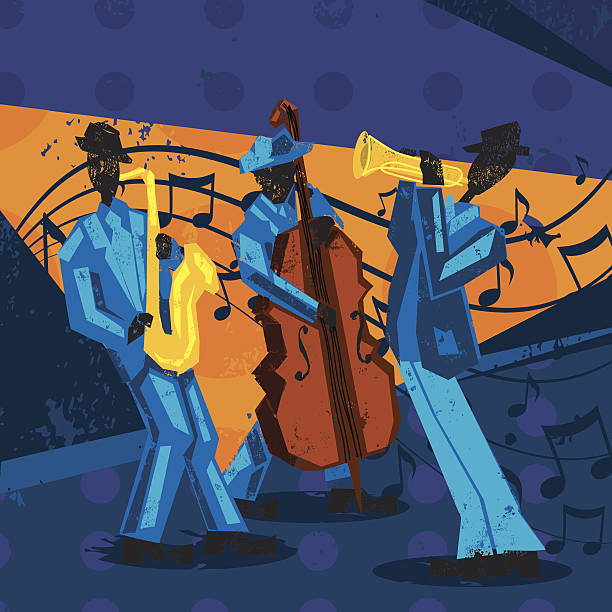 jazz band A jazz band with a trumpet player, bassist, and saxophonist over a decorative grunge background. The artwork extends outside the square clipping mask. To edit, select the artwork and go to OBJECT-> CLIPPING MASK-> EDIT CONTENTS or RELEASE. RETROROCKET stock illustrations