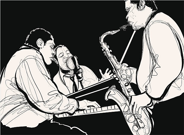 stockillustraties, clipart, cartoons en iconen met jazz band - tenor