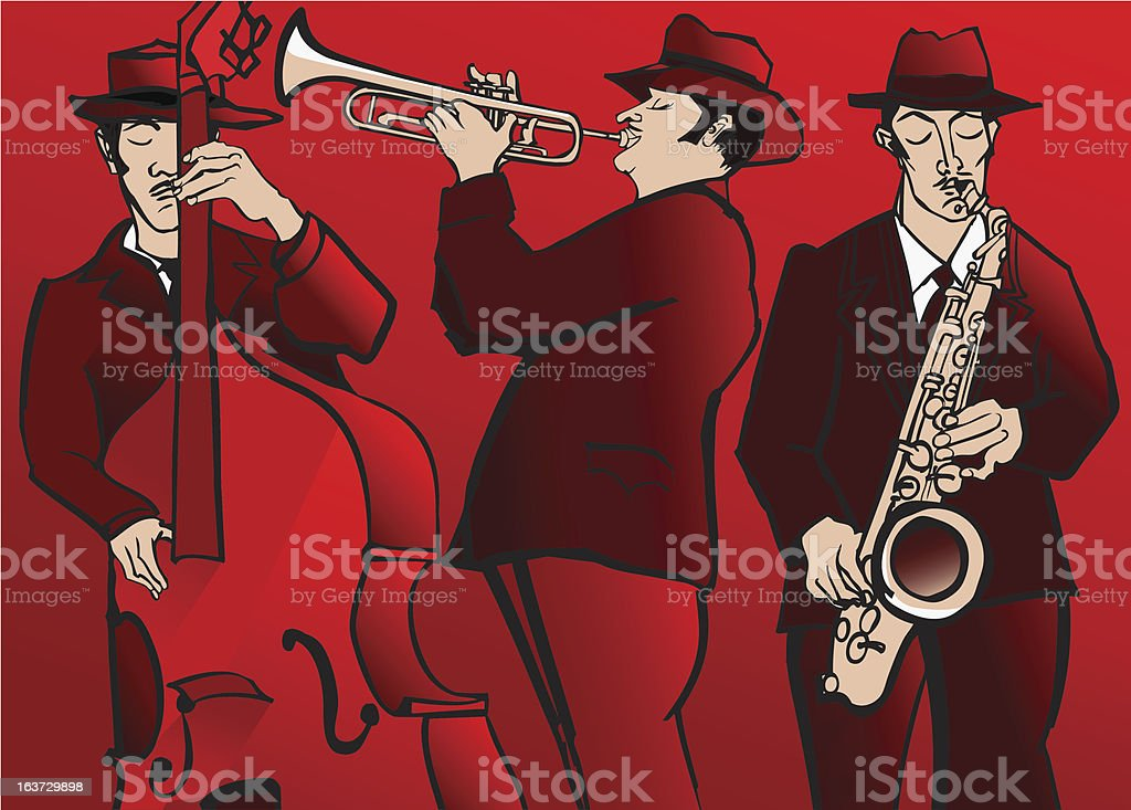 Jazz band with bass saxophone and trumpet royalty-free stock vector art