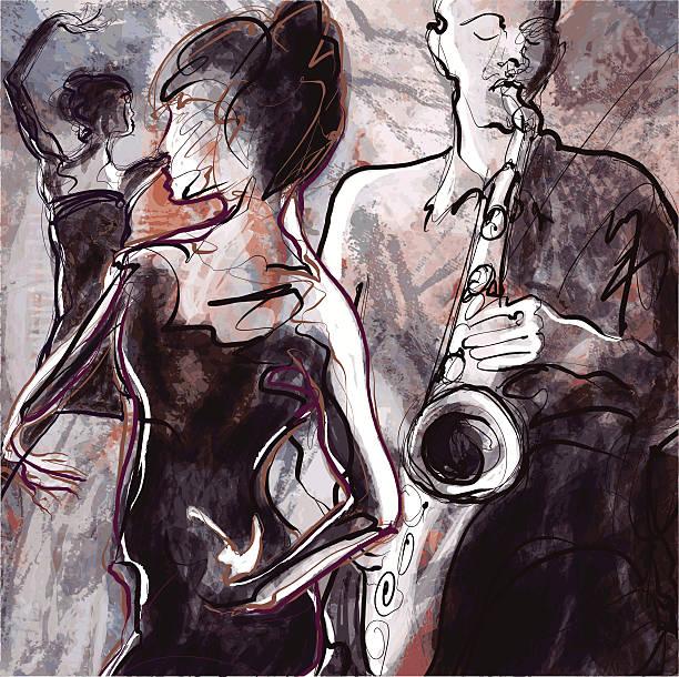 stockillustraties, clipart, cartoons en iconen met jazz band with dancers - tenor