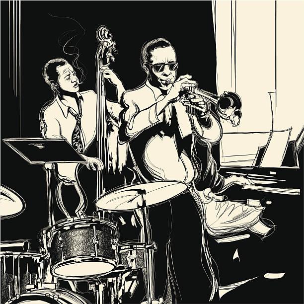 stockillustraties, clipart, cartoons en iconen met jazz band with double-bass trumpet piano and drum - tenor