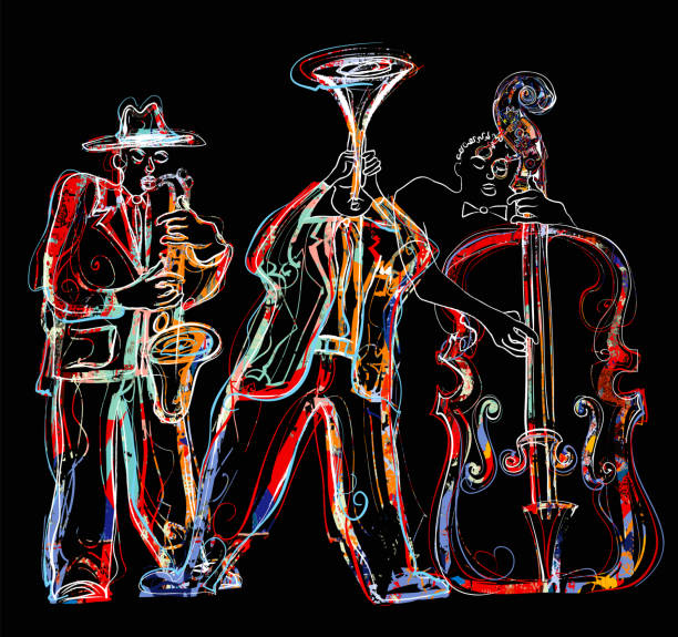 Jazz band with saxophone, trumpet and double-bass vector art illustration