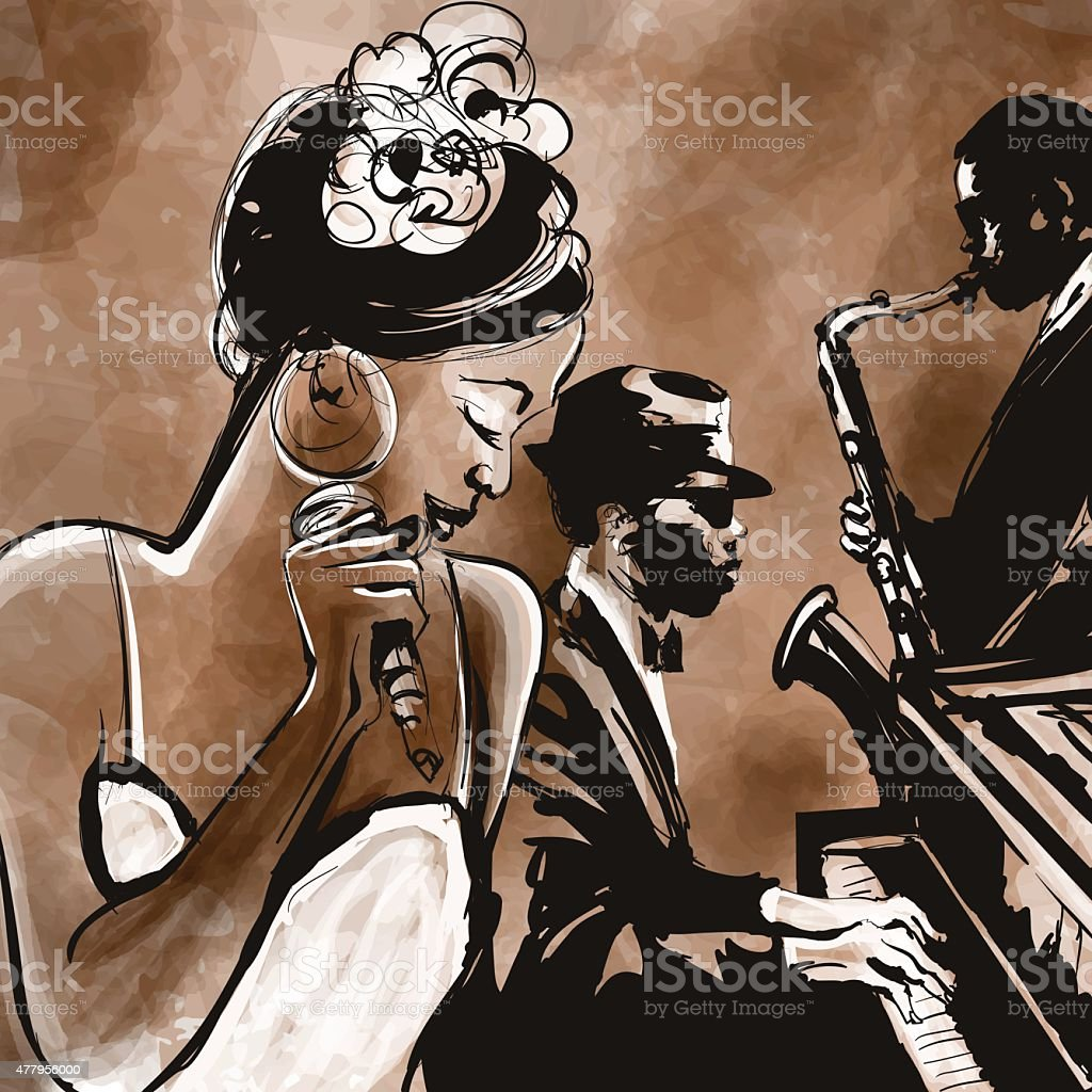 Jazz band with singer, saxophone and piano - illustration vector art illustration