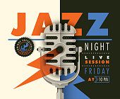Jazz banner design with retro microphone, typography and various graphic elements in color. Modern composition. Vector illustration.
