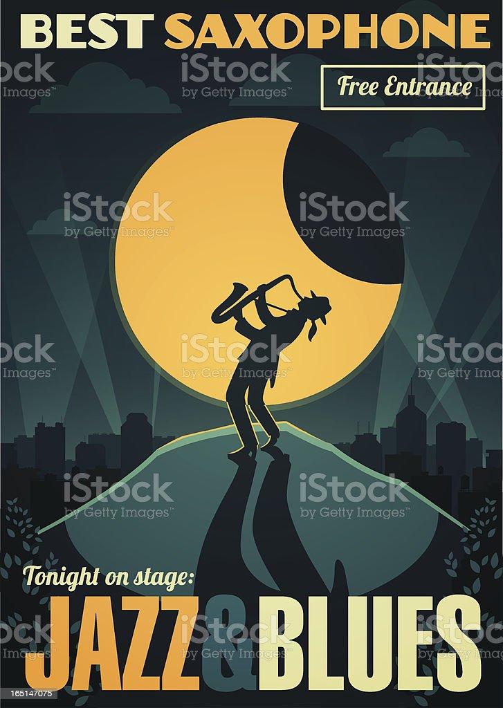 Jazz & blues concert poster vector art illustration