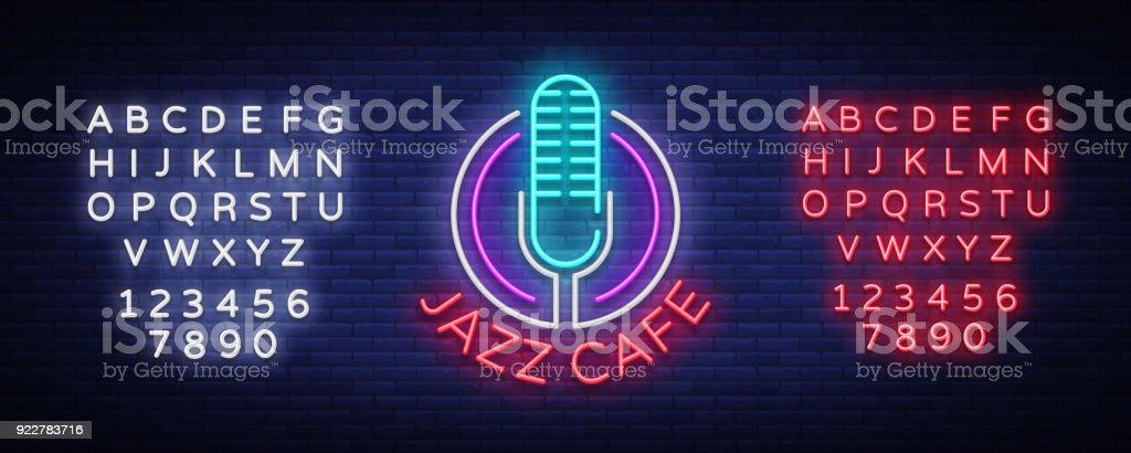 Jazz Cafe neon işarettir. Sembol, neon-stil logosu, parlak gece afiş, caz müzik Jazz Cafe, Restoran, bar, parti, konser için reklam aydınlık. Vektör çizim. Metin neon işareti düzenleme vektör sanat illüstrasyonu