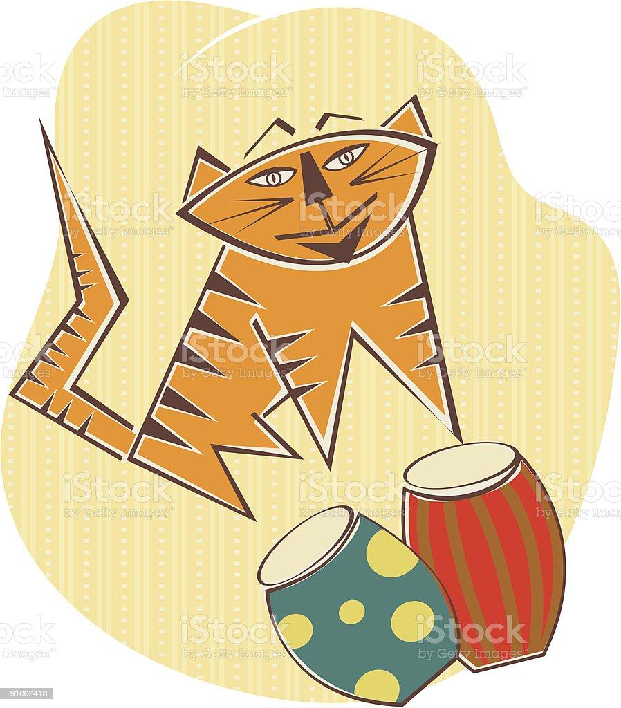 Jazz Cat vector art illustration