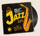 Vector illustration of a retro vinyl record sleeve with Jazz compilation sleeve design template. Fully editable and scalable.