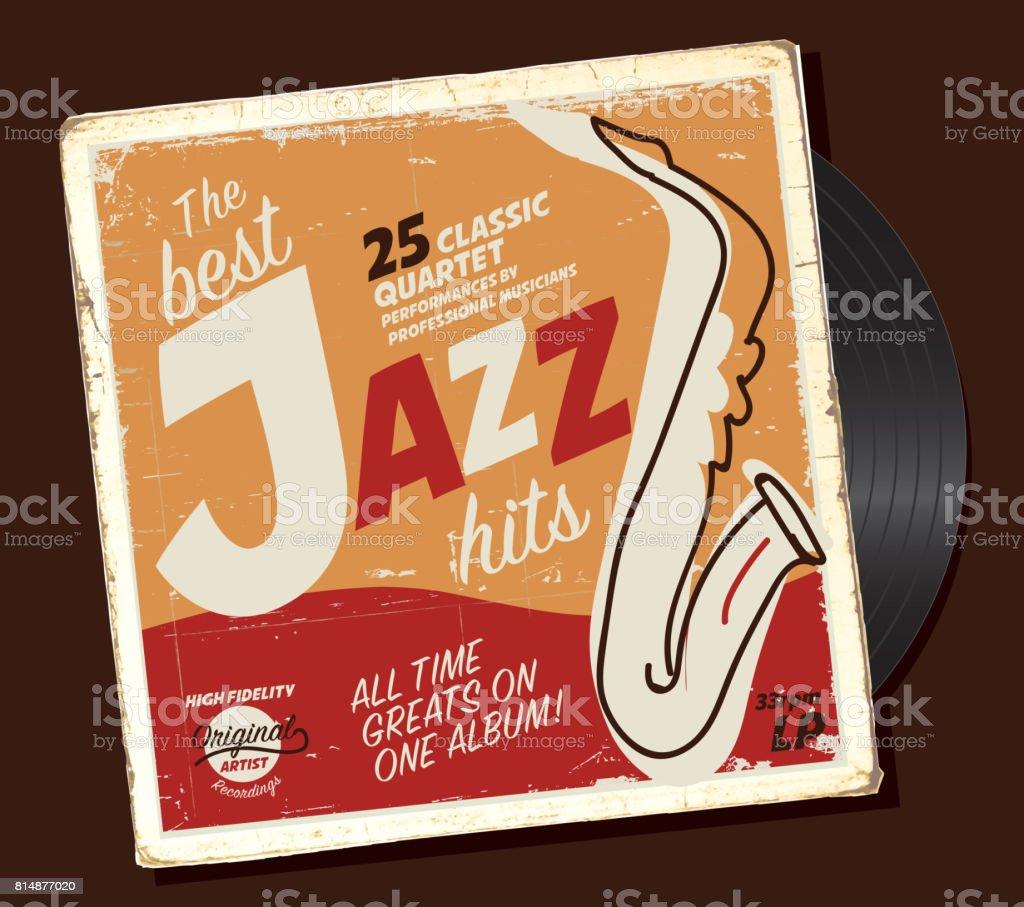 ジャズ コンパイル レトロなレコード ジャケット デザイン テンプレート
