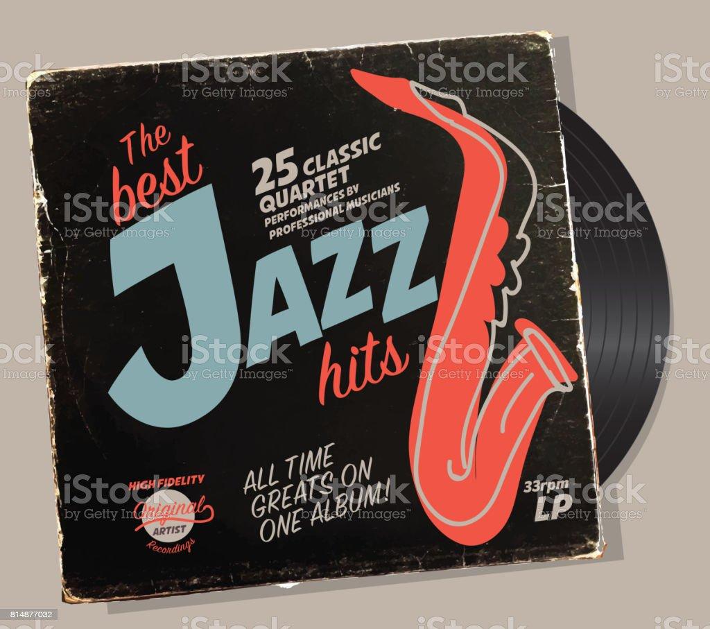Jazz compilation retro record sleeve design template vector art illustration