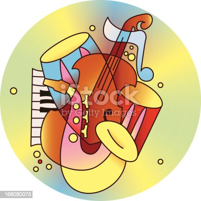 The composition of jazz instruments.Color images of musical instruments.Vector illustration.EPS 8