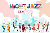 Jazz concert or festival poster template with New York landscape and characters playing musical instruments. Editable vector illustration