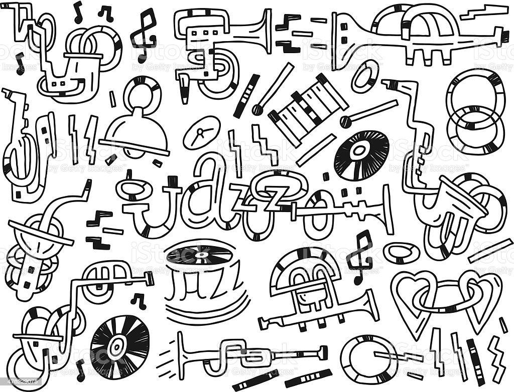 jazz doodles royalty-free stock vector art