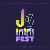 Jazz music fest hand drawn flat colorful vector icon. Piano keyboard silhouette, lettering Jazz design element. Vintage musical instrument emblem. Festival event advertisement background illustration