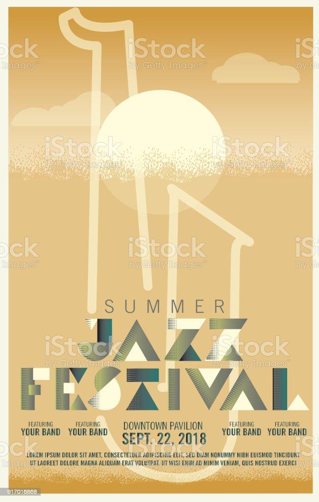 Ilustración de Plantilla De Diseño De Cartel Festival Jazz Art Decó ...