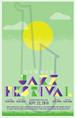 Jazz festival art deco style poster design template with saxophone and sun. Fully editable.