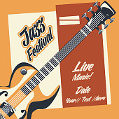 Jazz festival poster with electric guitar icon colorful design vector illustration