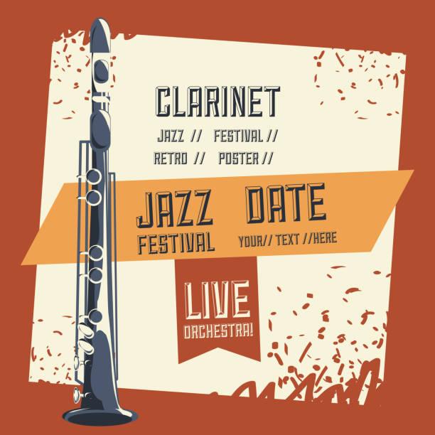 jazz festival design - klarnet stock illustrations