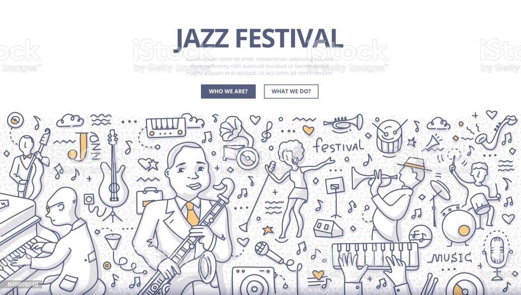 Jazz Festival Doodle Concept vector art illustration