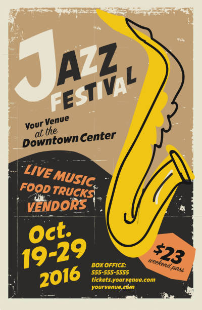jazz festival night poster design template - jazz stock illustrations
