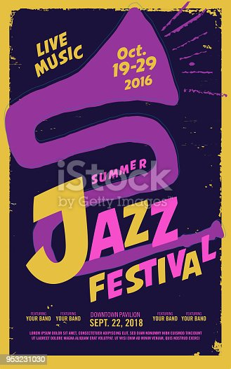 Vector illustration of a Jazz festival night poster design template with hand drawn abstract jazz horn drawing and playful sample text. Fully editable and scalable.