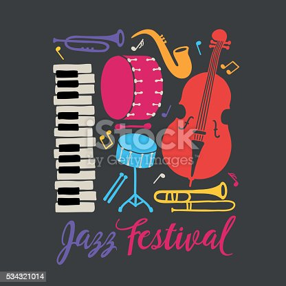 Jazz festival placard. Piano, trombone, saxophone, double bass, bass drum and snare drum. Music band. Perfect for disc cover, music concert placard. Vector illustration