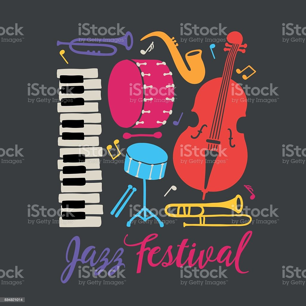 Festival de Jazz pancarte. Piano, trombone, le saxophone, Contrebasse, tambour Bass - Illustration vectorielle