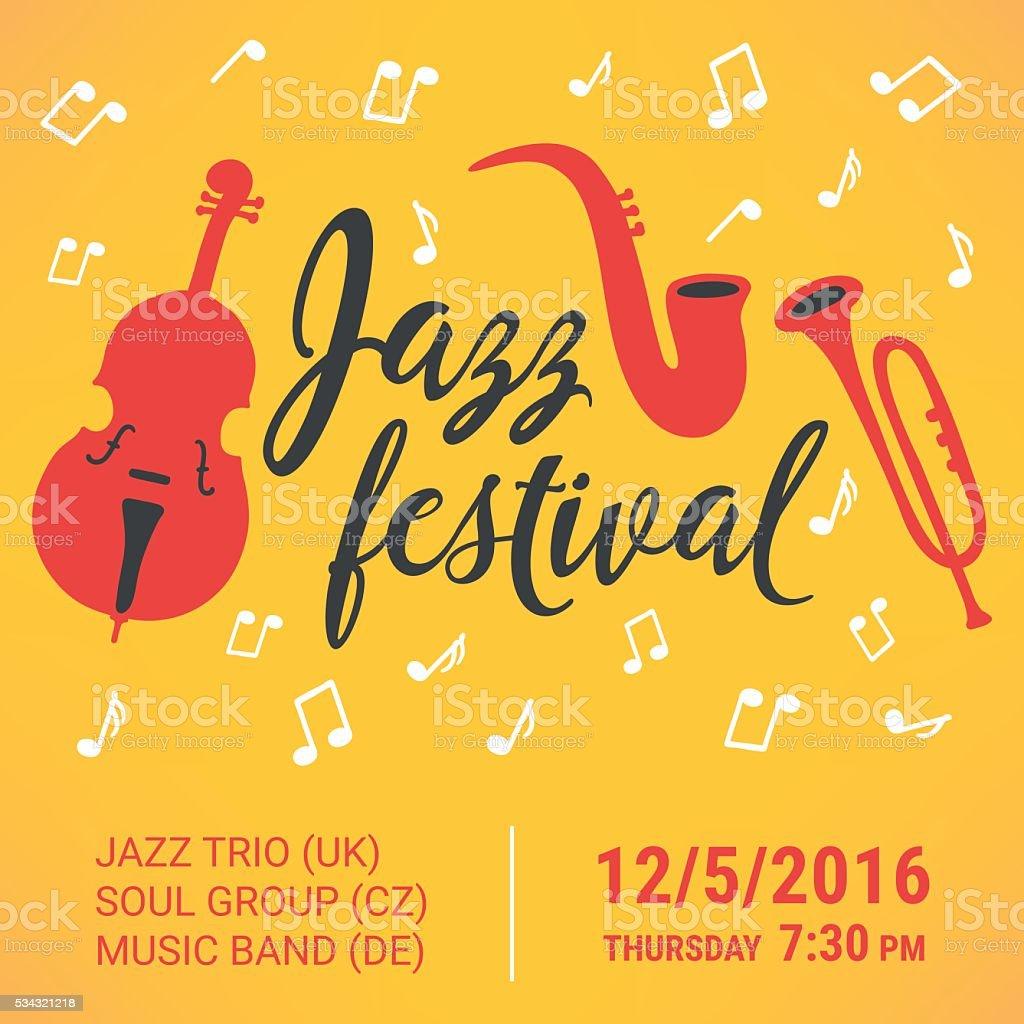 Affiche du Festival de Jazz. Contrebasse, de saxophone et de trompette - Illustration vectorielle