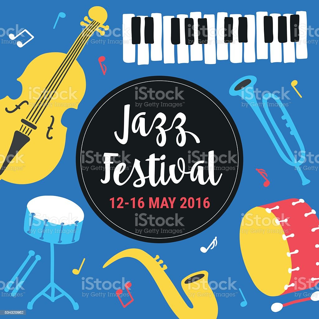Modèle d'Affiche du Festival de Jazz. Saxophone, Contrebasse, piano, trompette, tambour - Illustration vectorielle