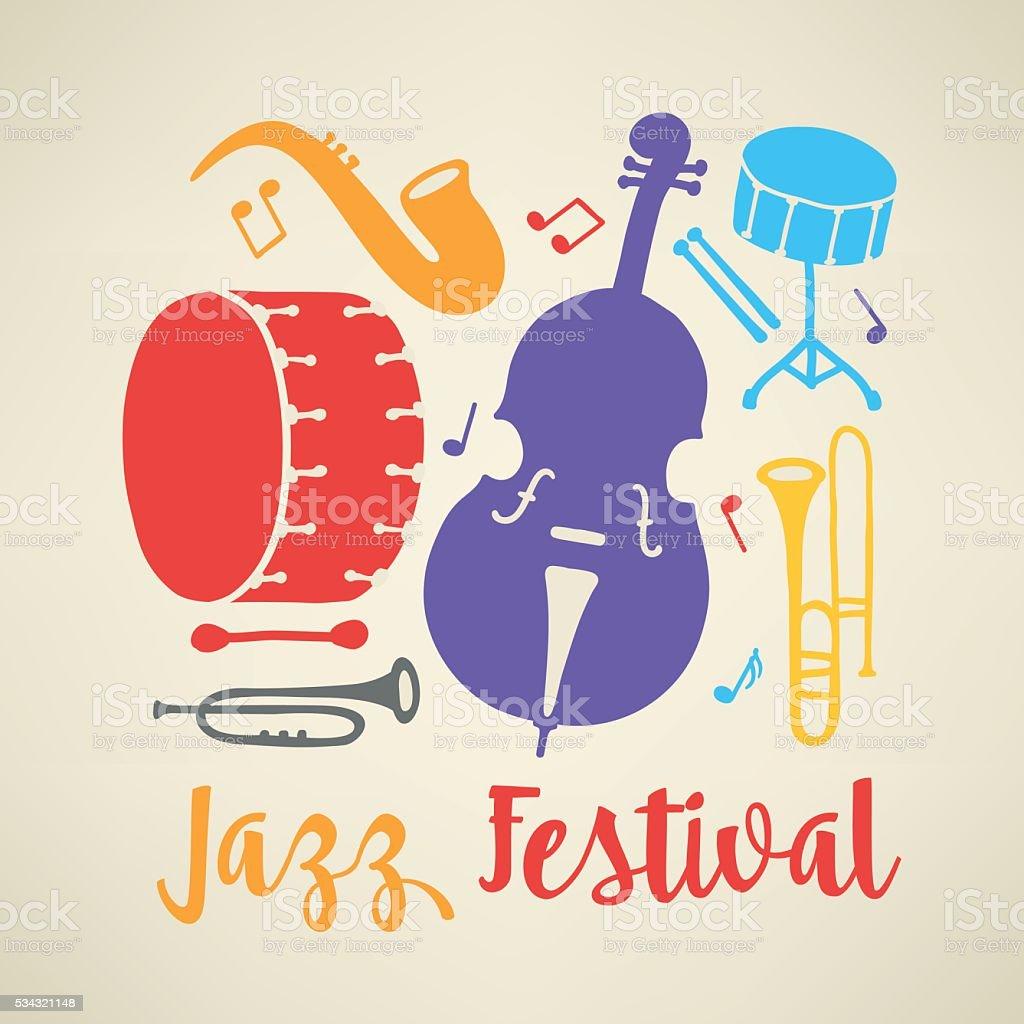 Modèle d'Affiche du Festival de Jazz. Trombone, douuble Bar, bar tambour, de saxophone - Illustration vectorielle