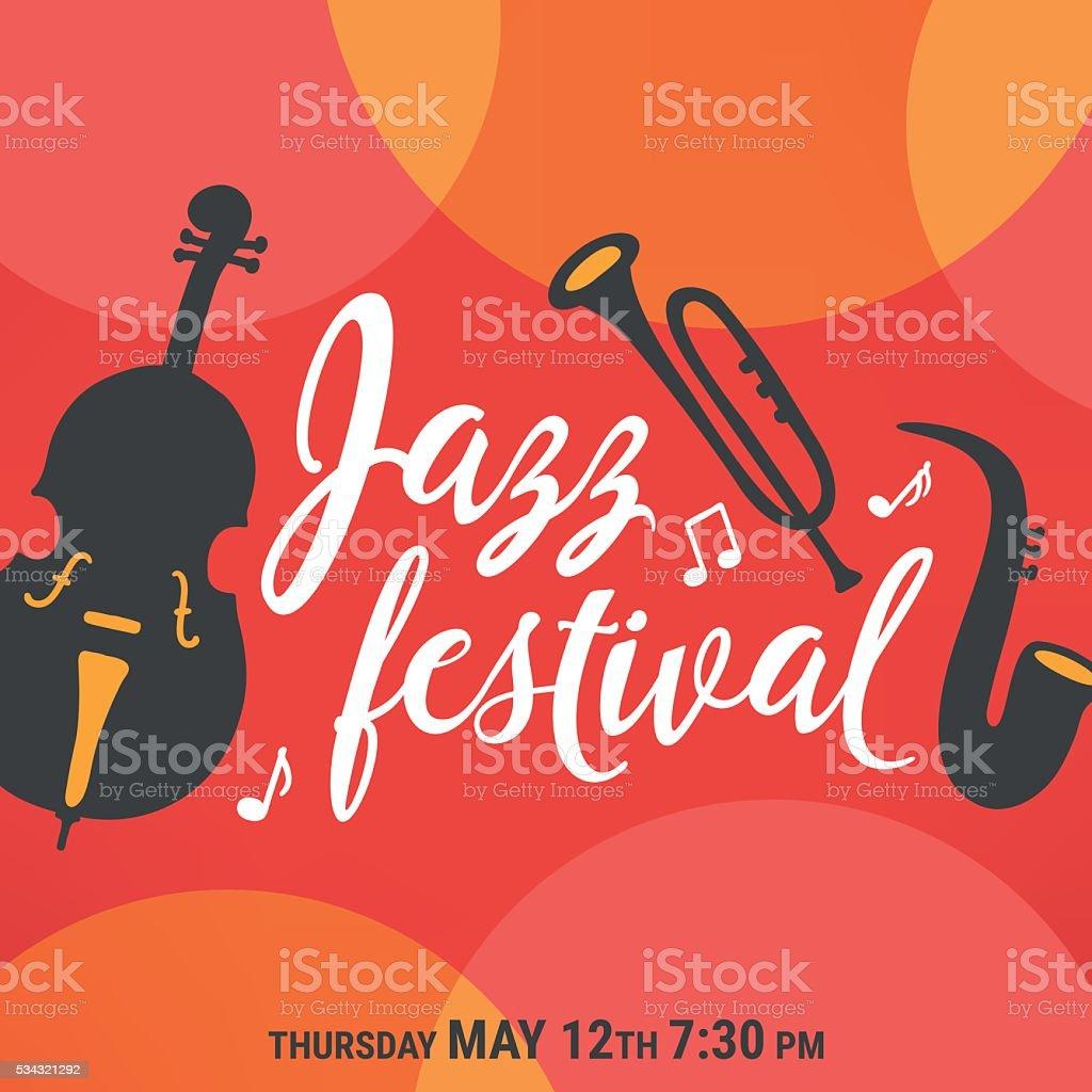 Affiche du festival de Jazz. Trio de :  saxophone, Contrebasse et de trompette - Illustration vectorielle