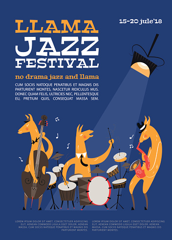 Jazz festival poster with cartoon llamas. Llamas are playing on the saxophone, double bass and snare drum. Perfect for music events, jazz concerts in trend style. Design in style of the 1950s.