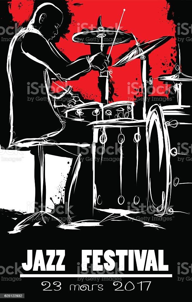 Jazz festival Poster with drummer vektör sanat illüstrasyonu