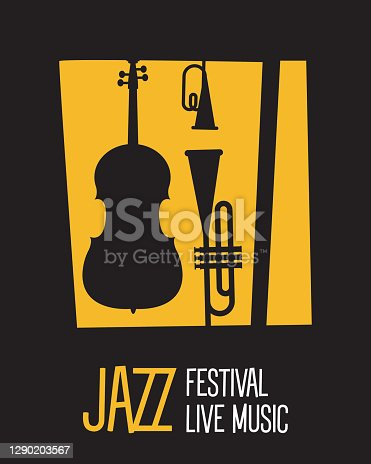 istock jazz festival poster with instruments silhouettes and lettering 1290203567